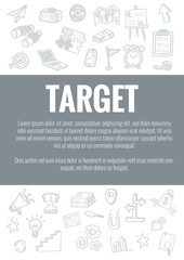 Vector template for target theme with hand drawn doodles business icon in background.Concept for business idea,startup and financial.