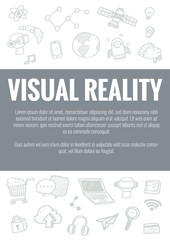 Vector template for visual reality theme with hand drawn doodles business icon in background.Concept for business idea,startup and innovation internet of things technology.