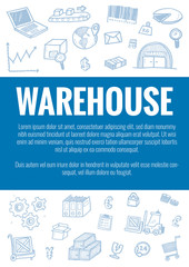 Vector template for warehouse theme with hand drawn doodles logistic business icons in background.Theme concept for global transportation import,export and logistic business industry