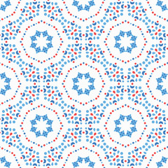 Flower Pattern Blue Boho Background