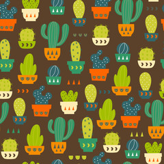 Cactus Pattern / Seamless Background with Cactus and succulent in Pot