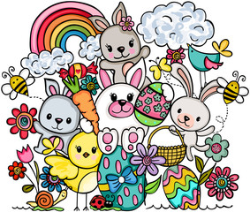Easter colorful doodle greeting card