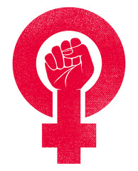 female gender symbol and raised fist feminism vector icon or logo design illustration