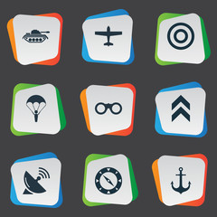 Vector Illustration Set Of Simple Military Icons. Elements Rank, Air Bomber, Ship Hook And Other Synonyms Rank, Zoom And Target.