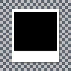 Photo frame with shadow. white plastic border. transparent checkerboard background. vector illustration