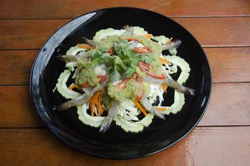 Thai cuisine fresh raw prawn in spicy fish sauce