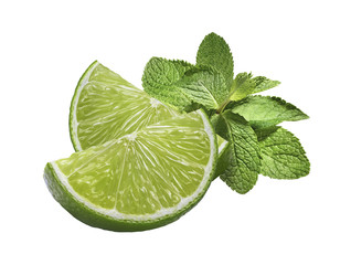 Lime mint horizontal isolated on white background