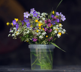 Still-life, wild flowers in a plastic jar on a table