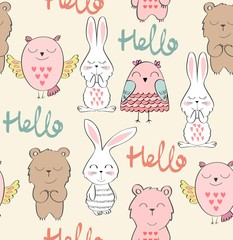 Vector cute seamless pattern with animals. Hello