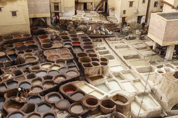 Leather tannery souk at Medina, Fez, Morocco