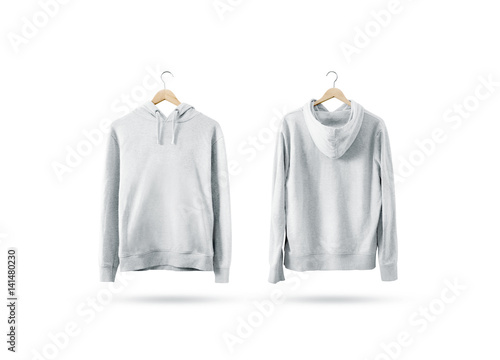1447cc3bd03a3 Blank white sweatshirt mockup set hanging on wooden hanger, front and back  side view.