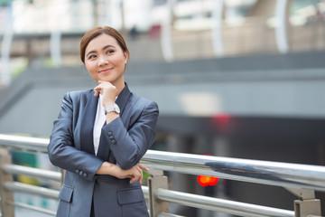 Businesswoman has positive thinking