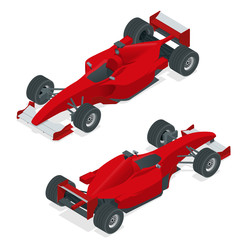 Fotobehang Snelle auto s Isometric red sport car or Formula 1 Car. Flat 3d isometric illustration. For infographics and design