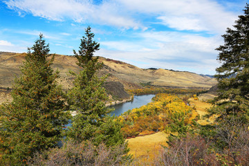 Wall Mural - Mountain River with Fall Colors, Missouri River