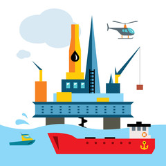 Vector Offshore Drilling Platform. Flat style colorful Cartoon illustration.