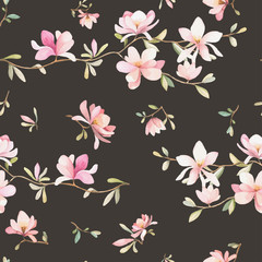 Seamless floral pattern with magnolias on a dark background, watercolor. Vector illustration.