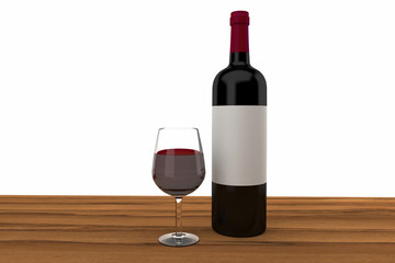 red wine glass and bottle on a wood table 3D rendering