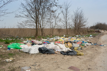 illegal dump near the road