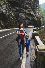 Woman with Children on Ravine Road