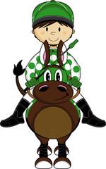Cute Cartoon Horse Racing Jockey