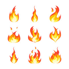 Cartoon Fire Flames Set. Vector