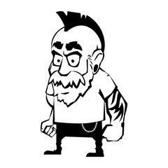 Punk with a mohawk and tattoos.Vector illustration.