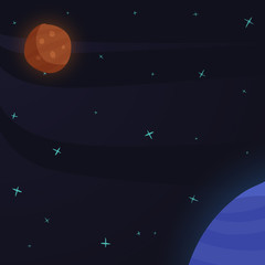 Space background in cartoon style.Vector illustration