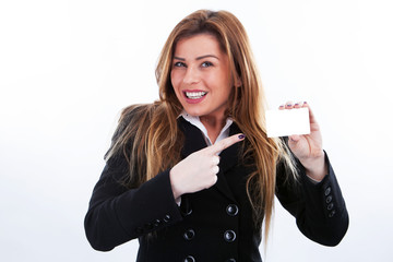 Smiling Businesswoman with  her credit card