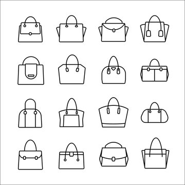 handbag icon set on white background