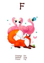 English Alphabet series of Amusing Animals letter F
