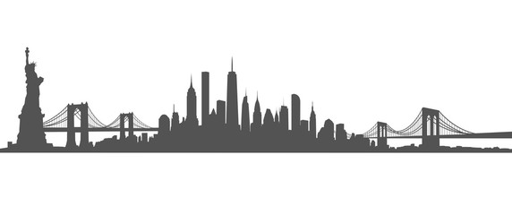 New York City Skyline Vector black and white Fotobehang