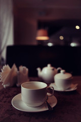cup of tea or coffee in a cafe serving breakfast table