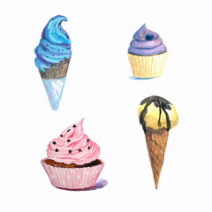 Blue ice cream,yellow ice cream with chocolate,lilac and pink cakes drawn of hand.Design for candy bar,wedding,menu.