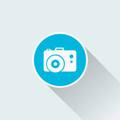 photo camera icon with long shadow