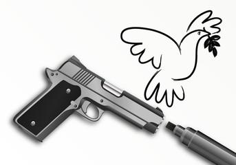 Paix - Liberté d'expression - Pistolet - Marqueur - dessin de presse - Colombe de la Paix
