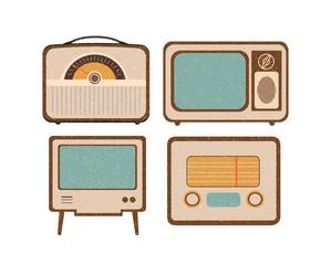 Set of retro home electronics radio TV in vintage style