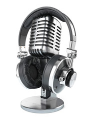 Retro studio microphone and headphones