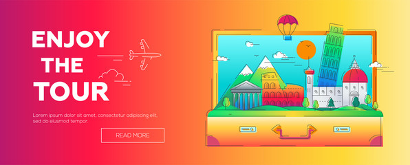 Enjoy the Tour - vector line travel web page header illustration