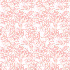 Floral seamless pattern with floral ornament. Vector illustration in asian textile style