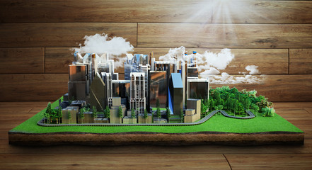 city of future concept Image of a modern city surrounded by nature landscape 3d render on wood background