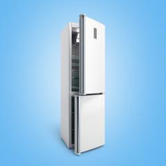 Stainless steel modern open refrigerator on blue gradient 3d illustration