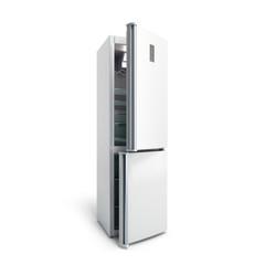 Stainless steel modern open refrigerator on white 3d illustration