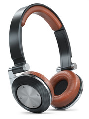 Modern black brown wireless headphones