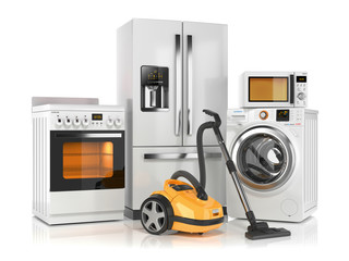 Set of home appliances. Refrigerator, washing machine, microwave oven, stove and vacuum cleaner