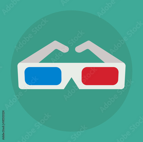 Flat 3d Glasses : Quot d glasses icon cinema eyeglasses in flat style vector
