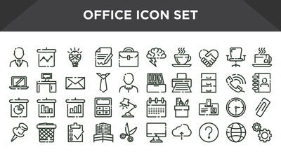 Office icons set, line office icon