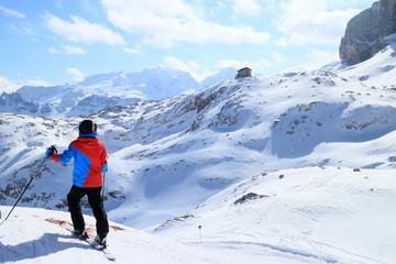 Junge blickt zu den verschneiten Bergen