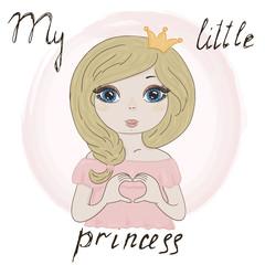 Hand Drawn cute cartoon little princes. vector print