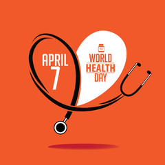 World Health Day stethoscope design. EPS 10 vector.