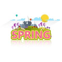 Spring Word in Decorative Vector Design.